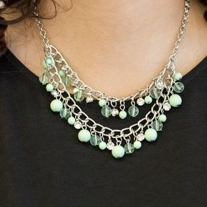 Apple Green and Silver Fringe Necklace Set